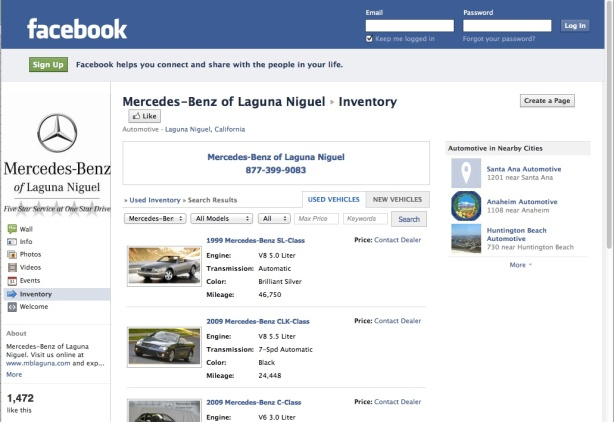 Facebook Inventory Tab List