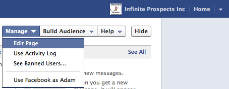 How to get to the Edit Page link in Timeline format on Facebook