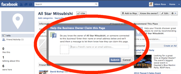 Popup Box where you enter the Facebook name or email address for your Facebook account that is an admin for the Fan Page